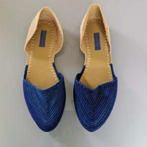 Proud Mary Women's Blue Raffia d'Orsay Flats